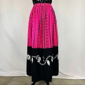 Vintage 50s Mexican Embroidered Wool Folk Skirt